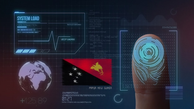 Biometrisches fingerabdruckscanner-identifikationssystem. papua-neuguinea-nationalität