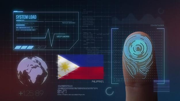 Biometrisches fingerabdruckscanner-identifikationssystem. philippinen nationalität