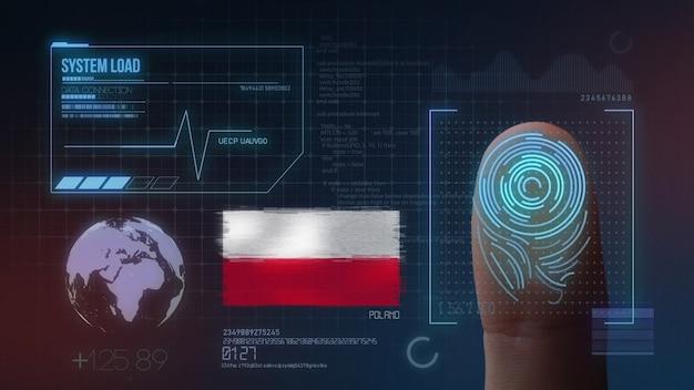 Biometrisches fingerabdruckscanner-identifikationssystem. polen nationalität