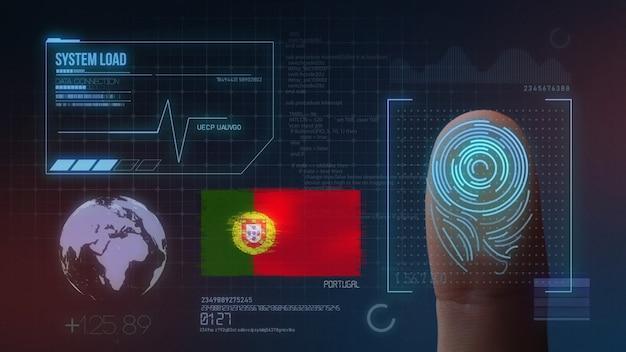 Biometrisches fingerabdruckscanner-identifikationssystem. portugal nationalität