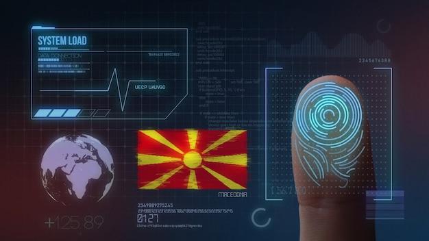 Biometrisches fingerabdruckscanner-identifikationssystem. republik mazedonien nationalität