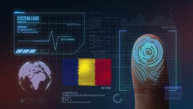 Biometrisches fingerabdruckscanner-identifikationssystem. rumänien nationalität