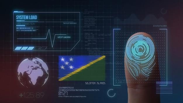 Biometrisches fingerabdruckscanner-identifikationssystem. salomonen-nationalität