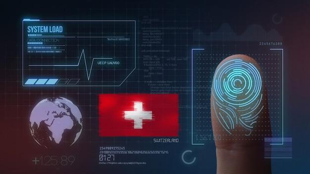 Biometrisches fingerabdruckscanner-identifikationssystem. schweiz nationalität