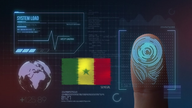 Biometrisches fingerabdruckscanner-identifikationssystem. senegalische nationalität