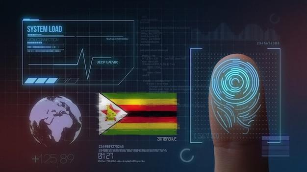 Biometrisches fingerabdruckscanner-identifikationssystem. simbabwe nationalität