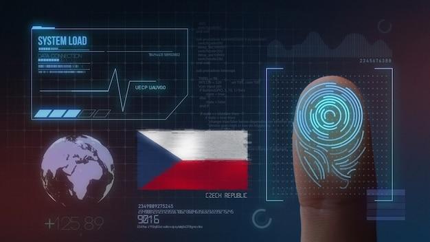 Biometrisches fingerabdruckscanner-identifikationssystem. tschechische republik nationalität