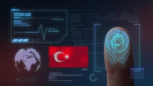 Biometrisches fingerabdruckscanner-identifikationssystem. türkei nationalität