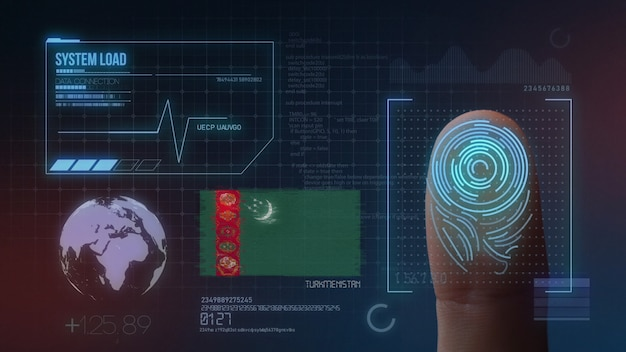 Biometrisches fingerabdruckscanner-identifikationssystem. turkmenistan nationalität