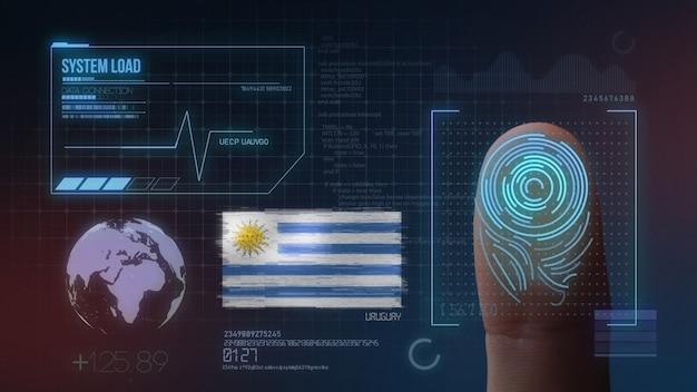 Biometrisches fingerabdruckscanner-identifikationssystem. uruguay-nationalität