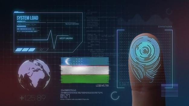 Biometrisches fingerabdruckscanner-identifikationssystem. usbekistan nationalität