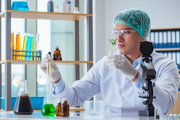Biotechnologiewissenschaftler, der im labor arbeitet