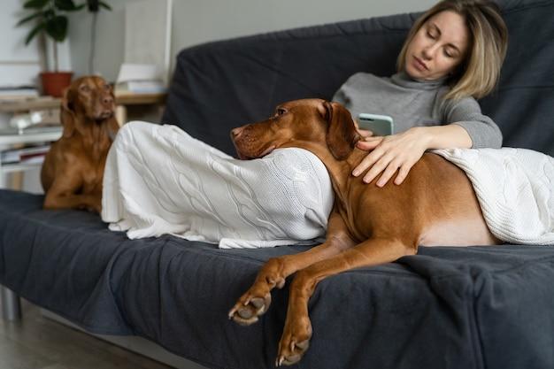 Bipolare störung, depression und gesundheitsversorgung: depressive erwachsene frau sitzt mit hunden zusammen und sagt meetings mit smartphone ab