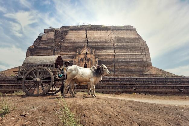 Birmanischer ländlicher mann, der hölzernen wagen mit dem traditionellen dorfleben in birma-landschaft fährt