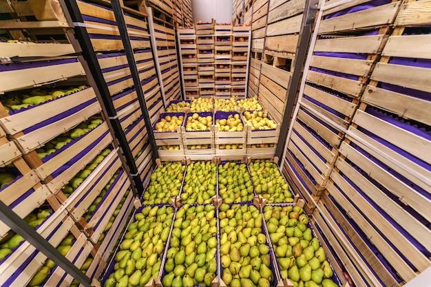 Birnen in kisten versandfertig