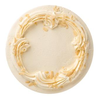 Biskuitkuchen mit buttercreme lokalisiert auf weiß