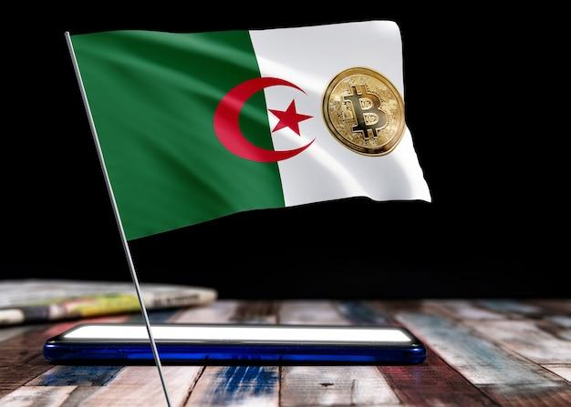 Bitcoin algerien auf flagge von algerien. bitcoin-nachrichten und rechtslage im algerien-konzept.