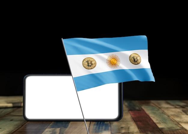 Bitcoin argentinien auf flagge von argentinien. bitcoin-nachrichten und rechtslage in argentinien-konzept.
