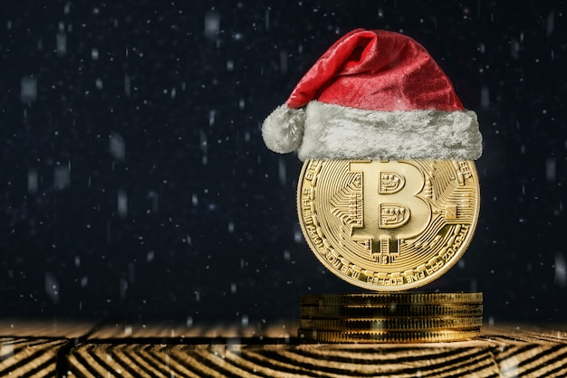 Bitcoin auf den weihnachtshintergründen