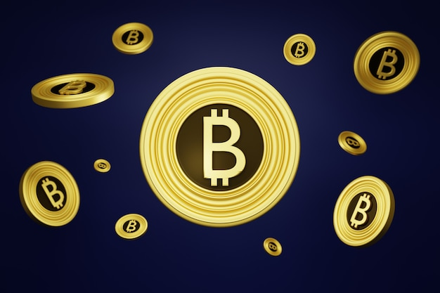 Bitcoin auf lila hintergrund.