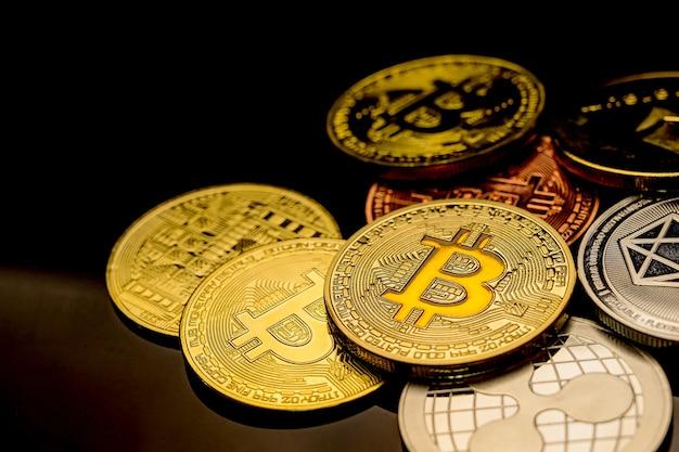 Bitcoin der kryptowährung. neues technologiegeschäft für virtuelles geld für blockchain