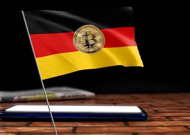 Bitcoin deutschland auf flagge deutschlands. bitcoin-nachrichten und rechtslage in deutschland-konzept.