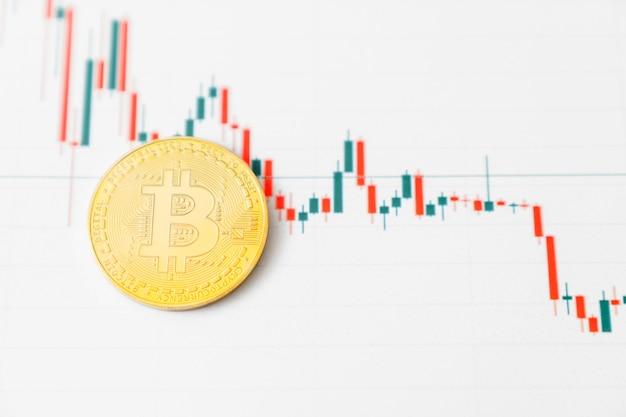 Bitcoin-diagramm. kryptowährung ist die währung der zukunft. der marktpreis ist bitcoin.