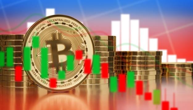 Bitcoin digitale kryptowährung niedriger preis grafische analyse 3d-render-illustrationshintergrund