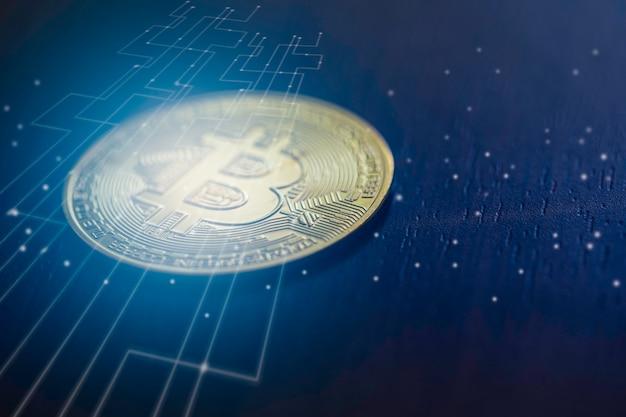 Bitcoin digitales geld mit grafik der internet-netzwerkverbindung, konzept der digitalen kryptogeldstörung