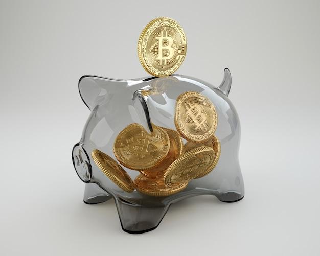 Bitcoin fällt in glas sparschwein