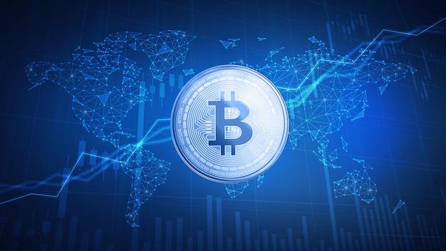 Bitcoin-geldmünze auf hud-hintergrund mit bull stock chart.