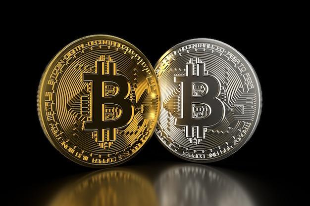 Bitcoin. goldene und silbermünzen mit dem bitcoin symbol, das auf schwarzem 3d getrennt wird, übertragen.