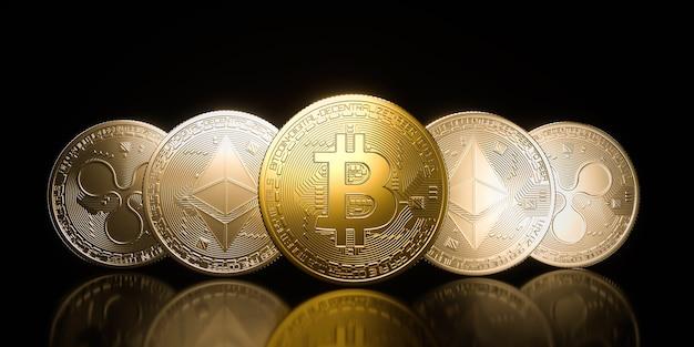 Bitcoin goldmünze, kryptowährung auf einem schwarzen hintergrund. 3d-rendering-illustration.
