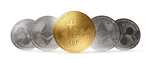 Bitcoin goldmünze, kryptowährung auf weißem hintergrund. 3d-rendering-illustration.