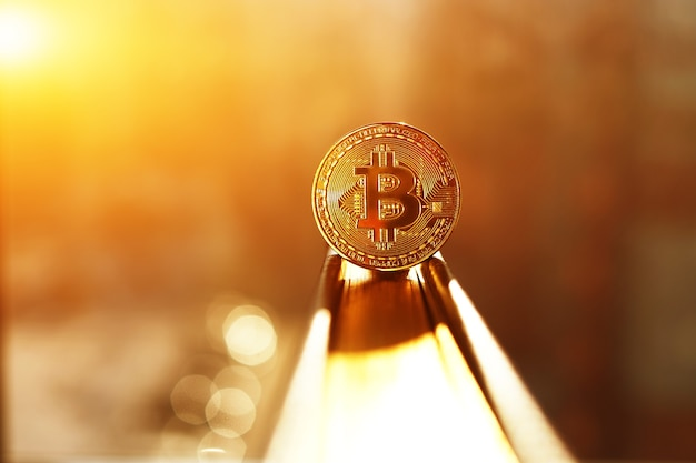 Bitcoin goldmünze. kryptowährungskonzept.