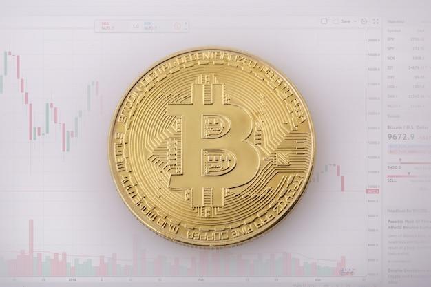 Bitcoin goldmünze und defokussierter kartenhintergrund.