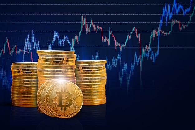 Bitcoin-grafik hinter tapete finanzielles wachstumskonzept mit goldenen bitcoins