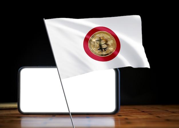 Bitcoin japan auf der flagge von japan. bitcoin-nachrichten und rechtslage im spanischen konzept.
