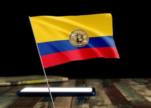 Bitcoin kolumbien auf flagge kolumbiens. bitcoin-nachrichten und rechtslage im kolumbianischen konzept.