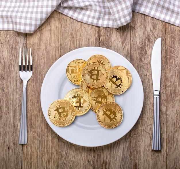 Bitcoin. konzeptproduktion von kryptowährung, mining-kryptographie.