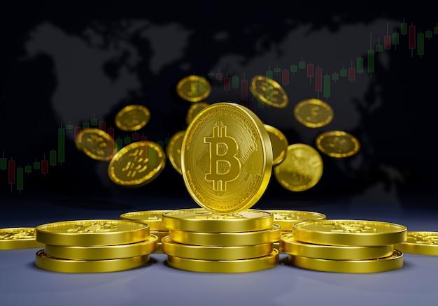 Bitcoin-kryptowährung 3d-rendering futuristisches digitales blockchain-marketing. währungsmarkt für den erwerb und kauf von commerce-blockchain in der zukunft.