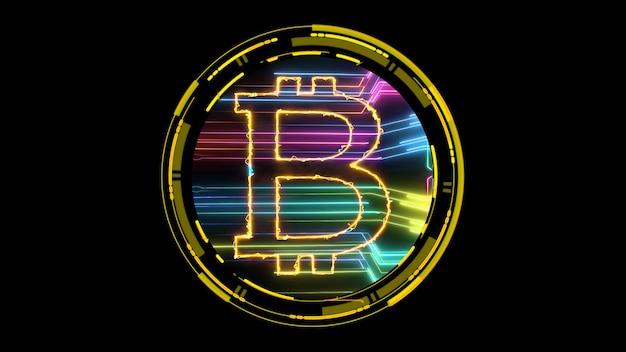 Bitcoin-kryptowährung und futuristische regenbogen-digitallaserübertragung auf schwarzem, isoliertem hintergrund