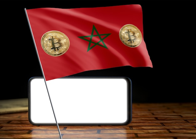 Bitcoin marokko auf flagge von marokko. bitcoin-nachrichten und rechtslage im marokkanischen konzept.