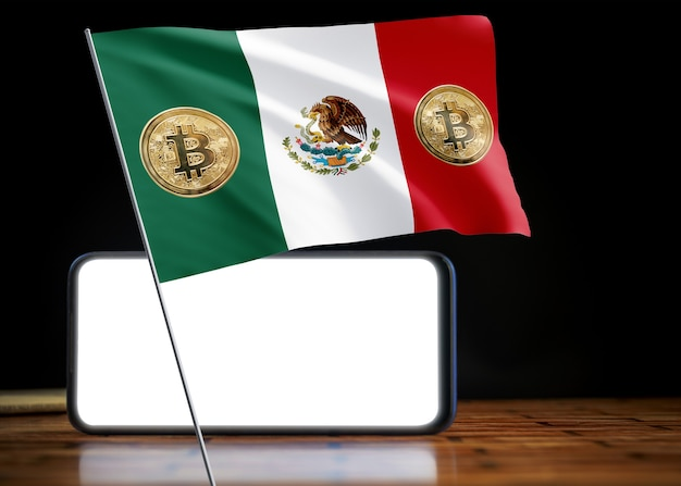 Bitcoin mexiko auf flagge von mexiko. bitcoin-nachrichten und rechtslage im mexiko-konzept.