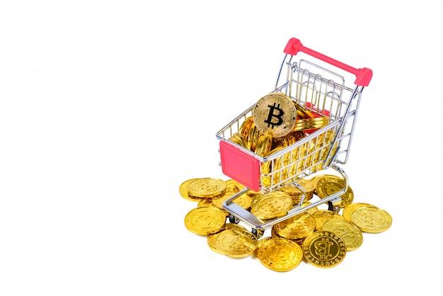 Bitcoin: mit bitcoin werden verschiedene währungen zum handeln oder einkaufen dargestellt.
