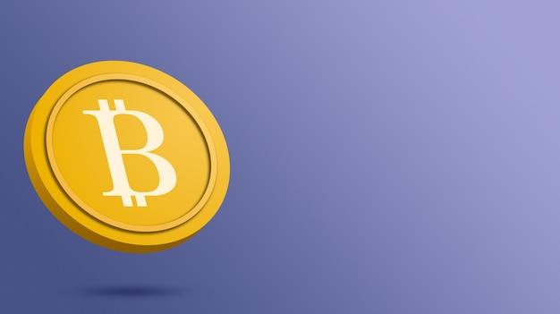 Bitcoin-münze auf blauem hintergrund, kryptowährung 3d rendern