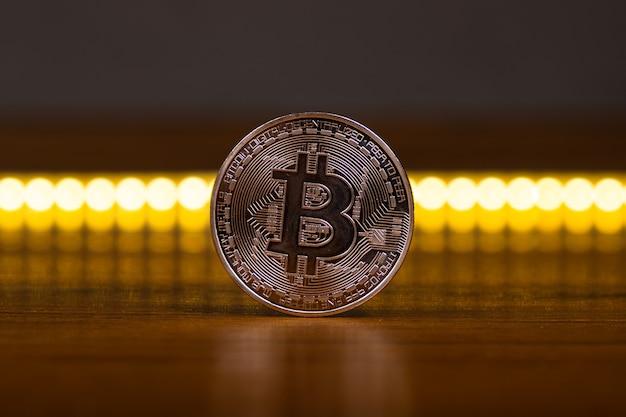 Bitcoin münze nahaufnahme, hauptkryptowährung.