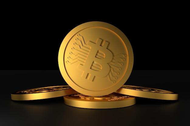 Bitcoin-münzengeld. 3d-rendering.