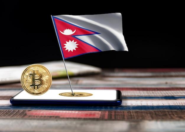 Bitcoin nepal auf der flagge von nepal. bitcoin-nachrichten und rechtslage im nepal-konzept.