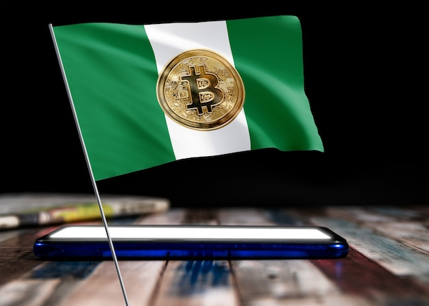 Bitcoin nigeria auf flagge von nigeria. bitcoin-nachrichten und rechtslage im nigeria-konzept.